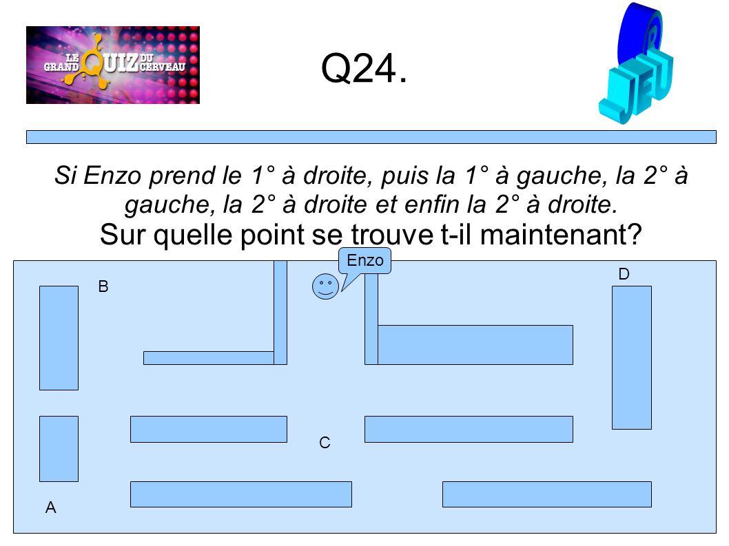 Q24. Enzo Si Enzo prend le 1° à droite, puis la 1° à gauche, la 2° à gauche, la 2° à droite et enfin la 2° à droite. Sur quelle point se trouve t-il m