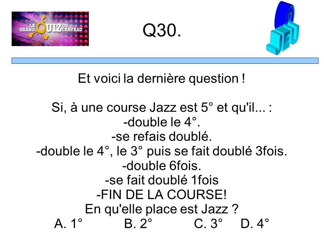 Q30. Et voici la dernière question . Si, à une course Jazz est 5° et qu il...