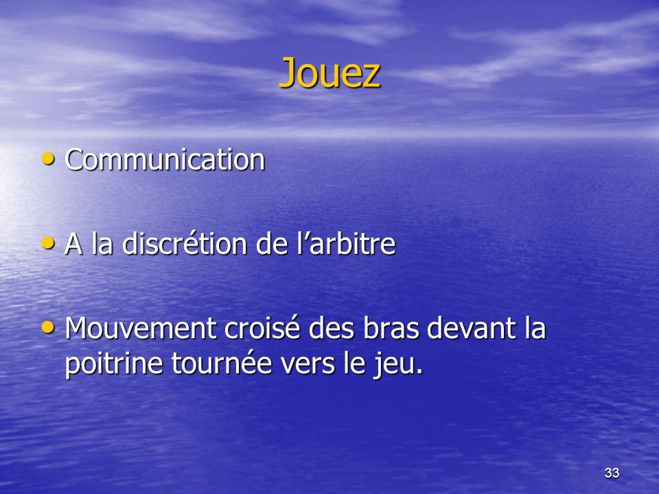 33 Jouez Communication Communication A la discrétion de larbitre A la discrétion de larbitre Mouvement croisé des bras devant la poitrine tournée vers