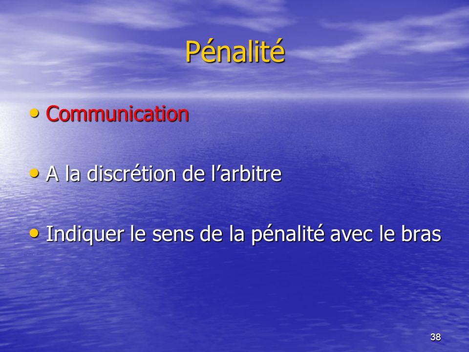 38 Pénalité Communication Communication A la discrétion de larbitre A la discrétion de larbitre Indiquer le sens de la pénalité avec le bras Indiquer