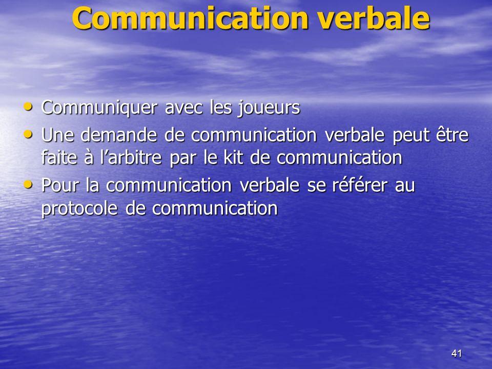 41 Communication verbale Communiquer avec les joueurs Communiquer avec les joueurs Une demande de communication verbale peut être faite à larbitre par