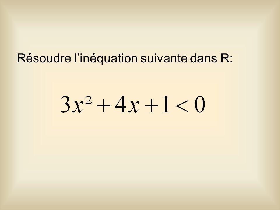 Résoudre linéquation suivante dans R: