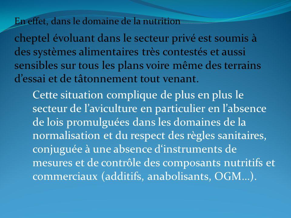 En effet, dans le domaine de la nutrition cheptel évoluant dans le secteur privé est soumis à des systèmes alimentaires très contestés et aussi sensib