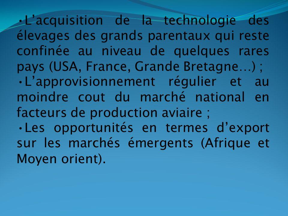 Lacquisition de la technologie des élevages des grands parentaux qui reste confinée au niveau de quelques rares pays (USA, France, Grande Bretagne…) ;