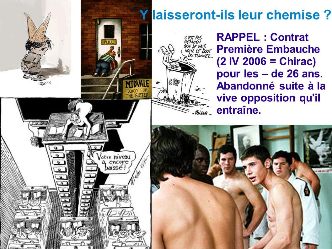 RAPPEL : Contrat Première Embauche (2 IV 2006 = Chirac) pour les – de 26 ans. Abandonné suite à la vive opposition qu'il entraîne. Y laisseront-ils le