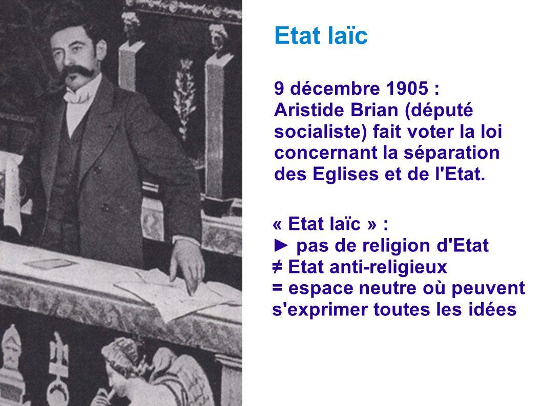 9 décembre 1905 : Aristide Brian (député socialiste) fait voter la loi concernant la séparation des Eglises et de l'Etat. Etat laïc « Etat laïc » : pa