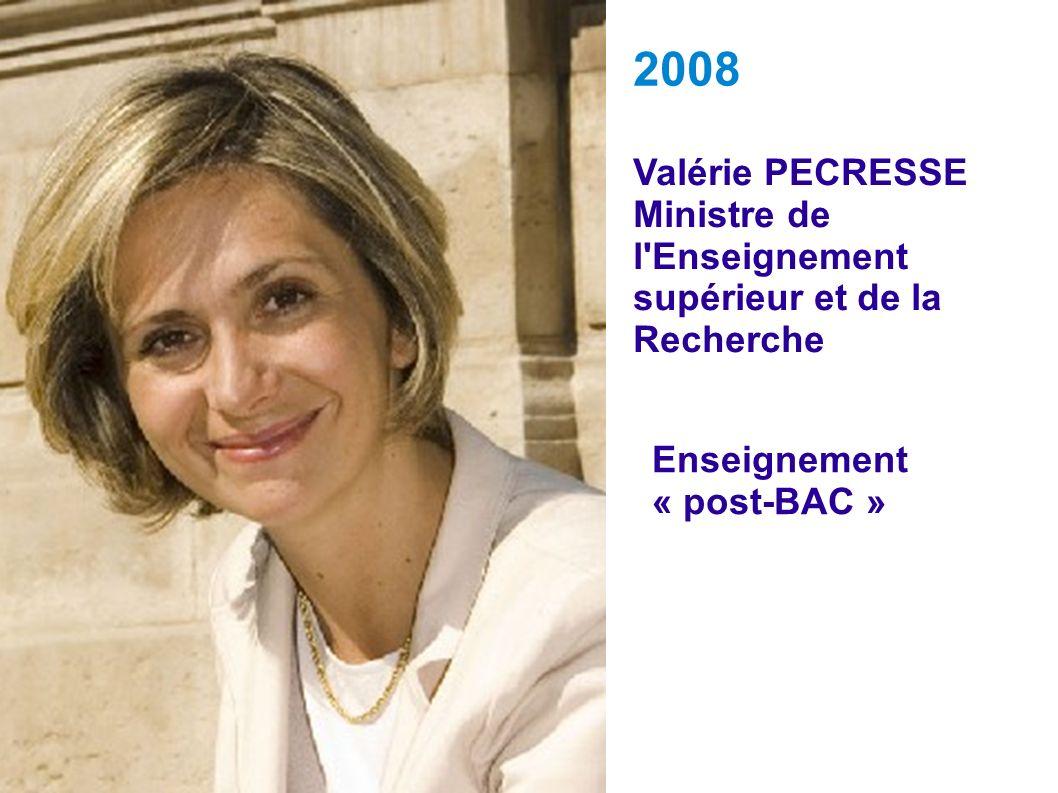 Valérie PECRESSE Ministre de l'Enseignement supérieur et de la Recherche 2008 Enseignement « post-BAC »