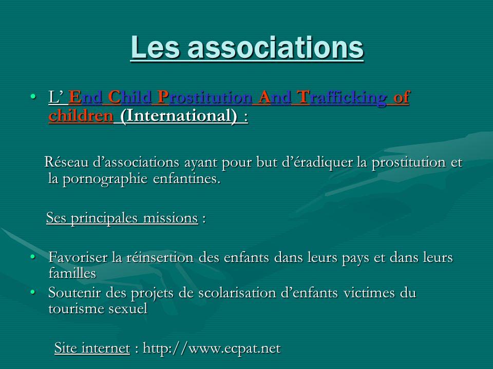 Les associations L End Child Prostitution And Trafficking of children (International) :L End Child Prostitution And Trafficking of children (Internati