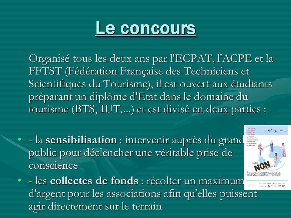 Le concours Organisé tous les deux ans par l'ECPAT, l'ACPE et la FFTST (Fédération Française des Techniciens et Scientifiques du Tourisme), il est ouv