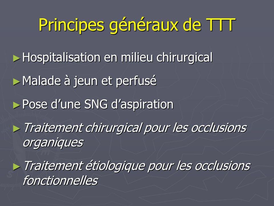 Principes généraux de TTT Hospitalisation en milieu chirurgical Hospitalisation en milieu chirurgical Malade à jeun et perfusé Malade à jeun et perfus