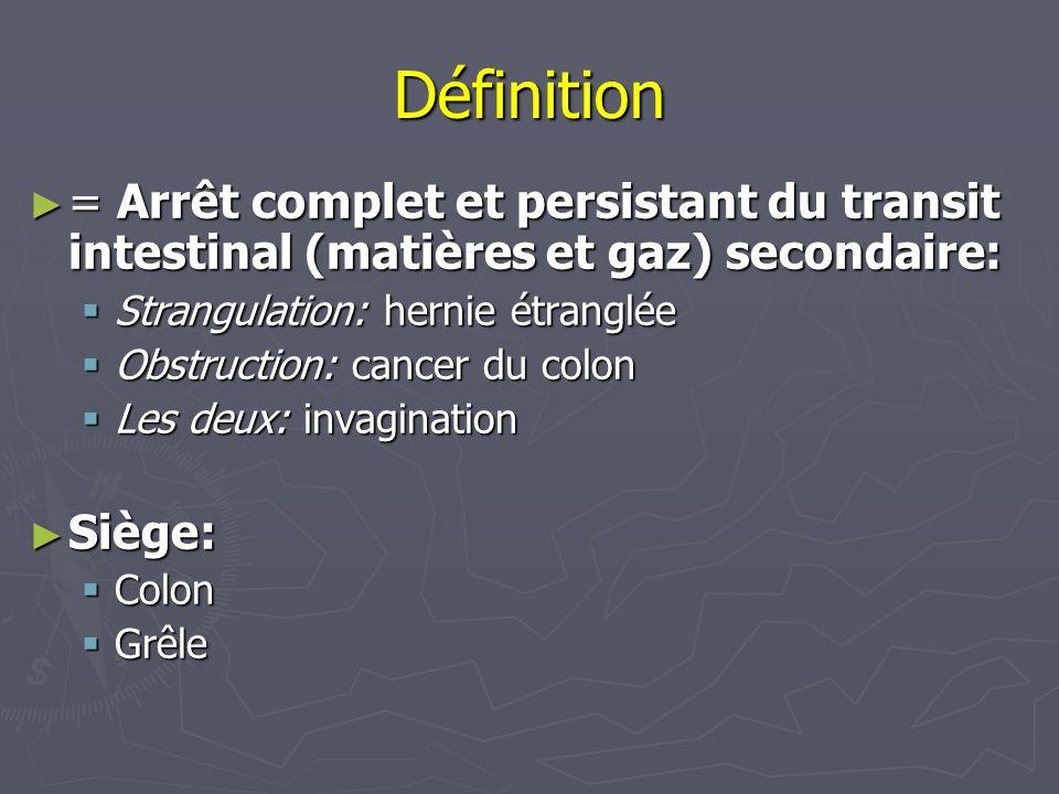 = Arrêt complet et persistant du transit intestinal (matières et gaz) secondaire: = Arrêt complet et persistant du transit intestinal (matières et gaz