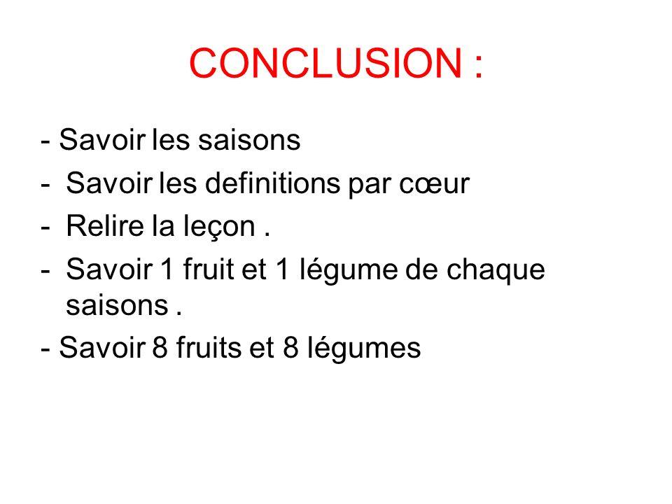 CONCLUSION : - Savoir les saisons -Savoir les definitions par cœur -Relire la leçon.
