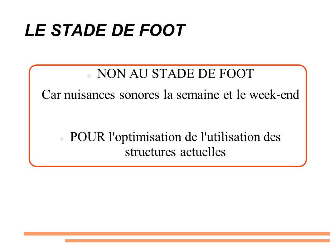 LE STADE DE FOOT NON AU STADE DE FOOT Car nuisances sonores la semaine et le week-end POUR l optimisation de l utilisation des structures actuelles