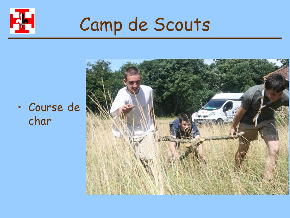 Camp de Scouts Course de char