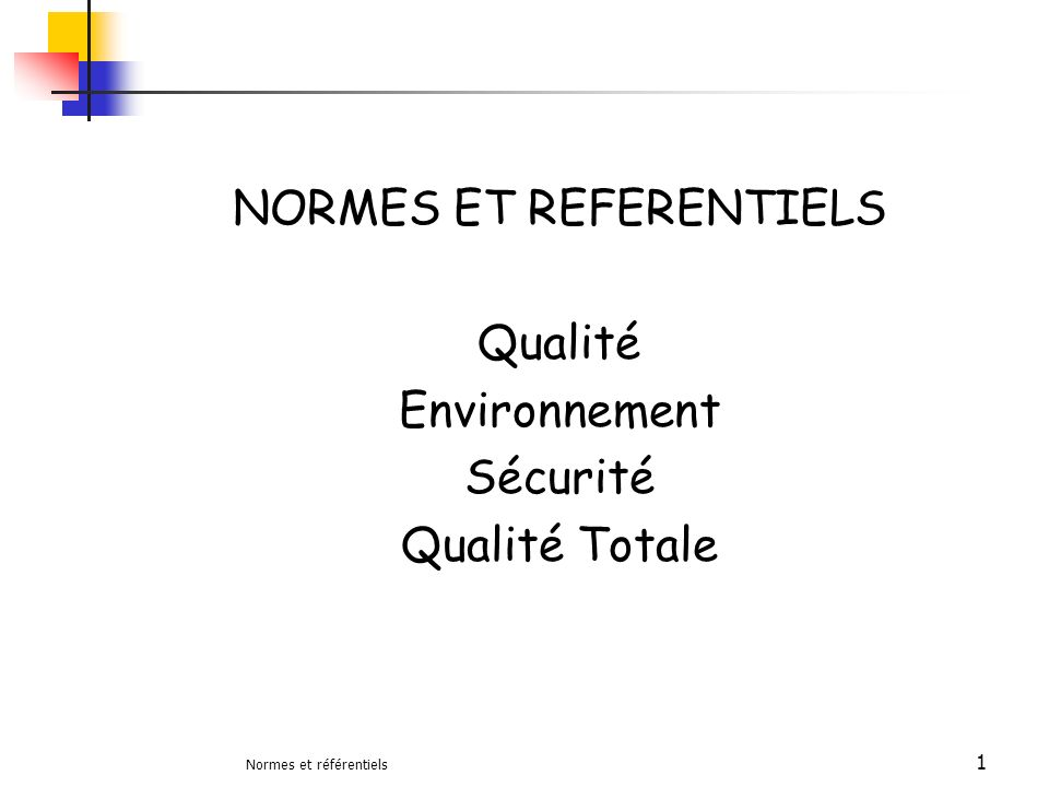 Normes et référentiels 1 NORMES ET REFERENTIELS Qualité Environnement Sécurité Qualité Totale