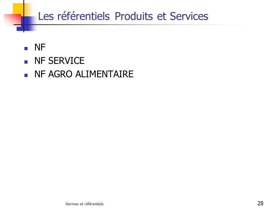 Normes et référentiels 28 Les référentiels Produits et Services NF NF SERVICE NF AGRO ALIMENTAIRE