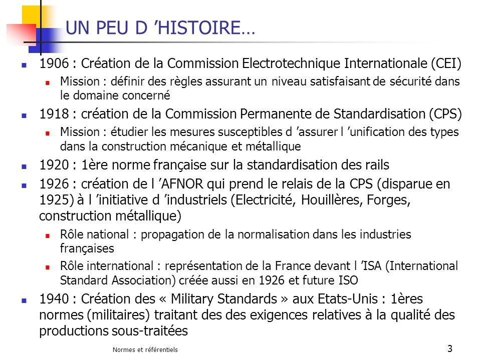 Normes et référentiels 34 REFERENTIELS ET NORMES SECTORIELS Les référentiels de Management du secteur automobile Evaluation daptitude Qualité Fournisseurs EAQF 1987 ISO TS 16949 QS 9000 Quality System Requirements Technical Specification Certification EAQF : créé par Peugeot et Citroën, basé sur l ISO 9001 (1994) + spécificités automobiles QS 9000 : Créé par les constructeurs américains, basé sur l ISO 9001 (1994) + spécificités automobiles ISO TS 16949 dans sa version 2002, basé sur l ISO 9001 : 2000 + spécificités automobiles (harmonisation dexigences en automobile de plusieurs référentiels dont EAQF et QS9000)