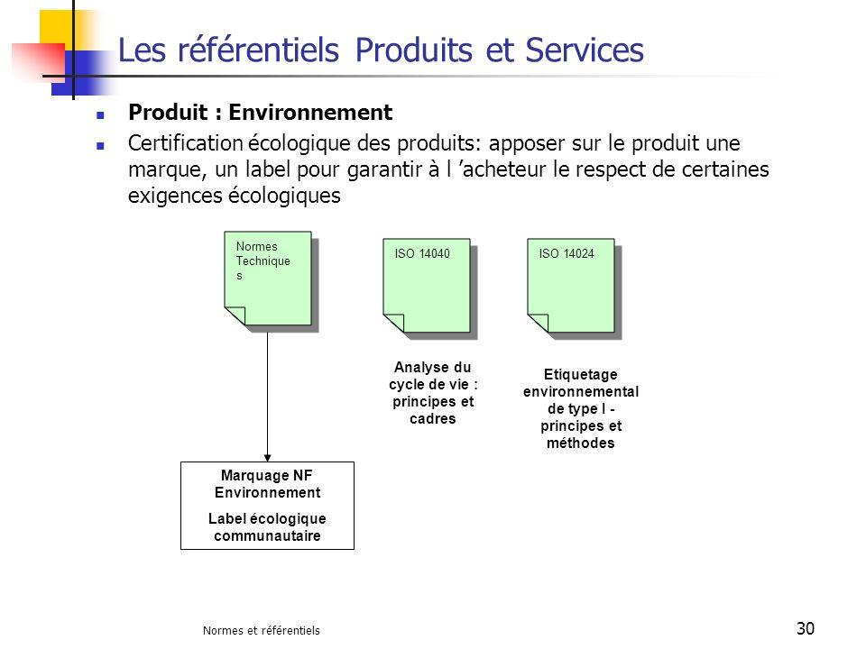 Normes et référentiels 30 Les référentiels Produits et Services Produit : Environnement Certification écologique des produits: apposer sur le produit