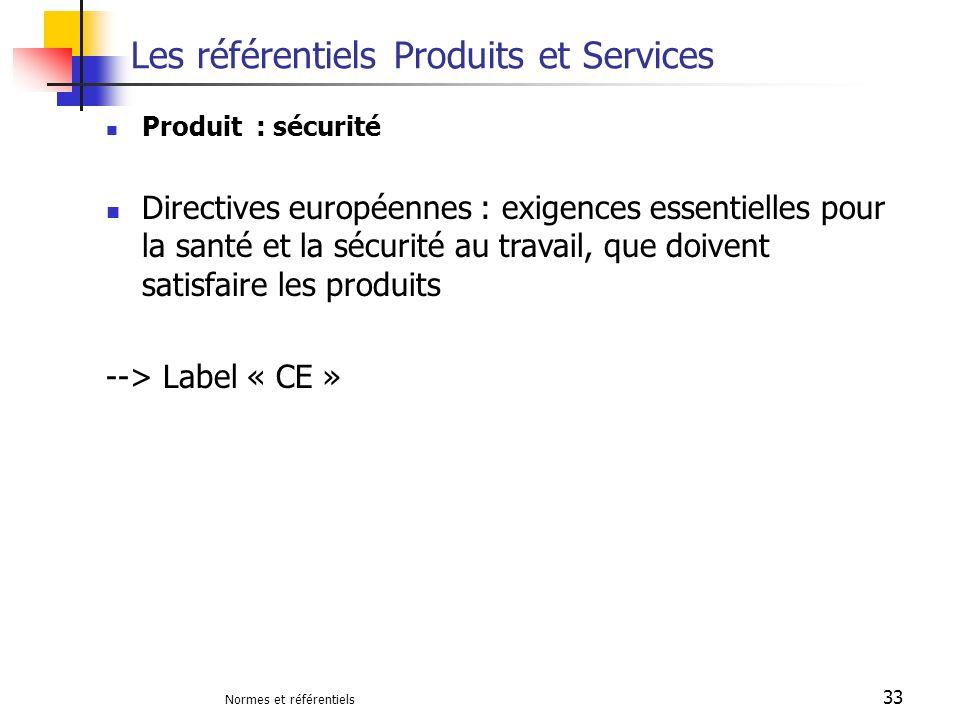 Normes et référentiels 33 Les référentiels Produits et Services Produit : sécurité Directives européennes : exigences essentielles pour la santé et la