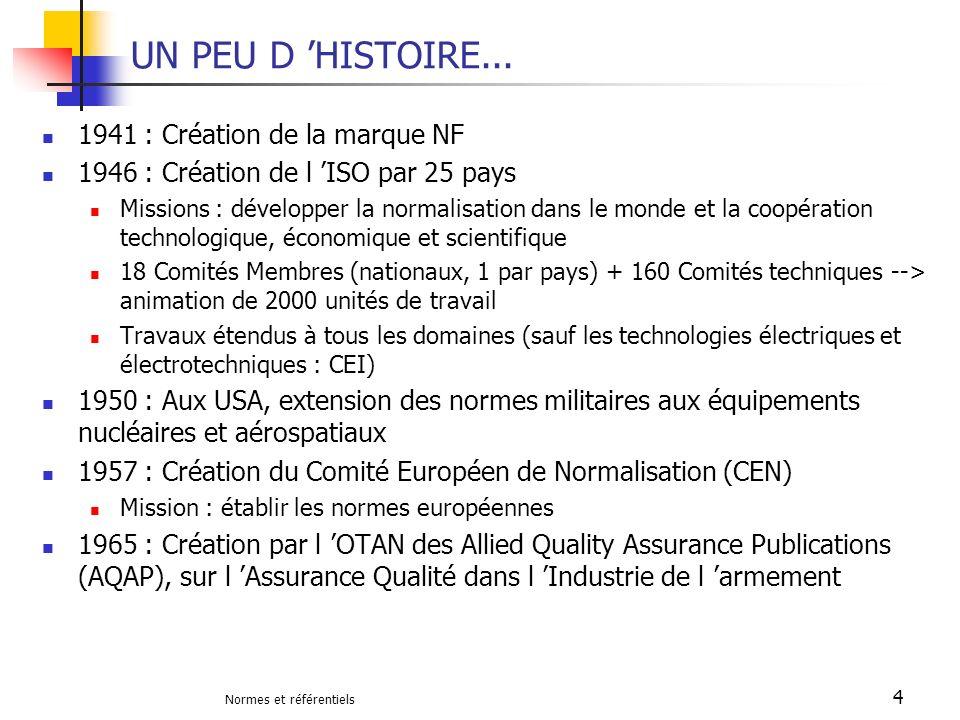 Normes et référentiels 4 UN PEU D HISTOIRE... 1941 : Création de la marque NF 1946 : Création de l ISO par 25 pays Missions : développer la normalisat