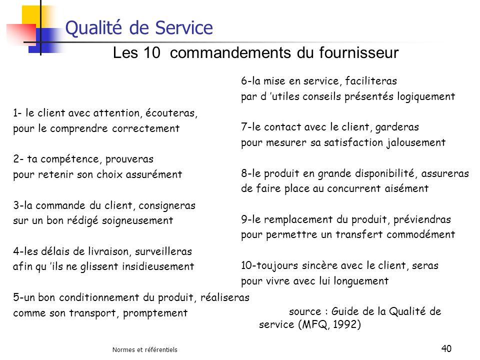 Normes et référentiels 40 Qualité de Service 1- le client avec attention, écouteras, pour le comprendre correctement 2- ta compétence, prouveras pour
