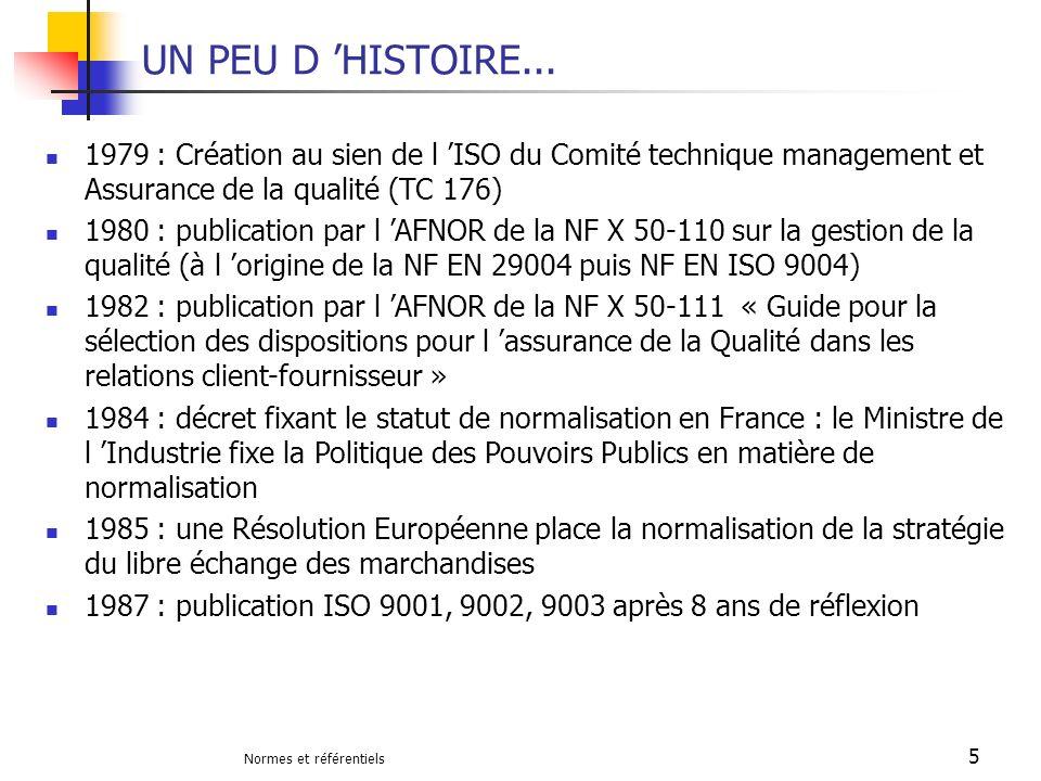 Normes et référentiels 5 UN PEU D HISTOIRE... 1979 : Création au sien de l ISO du Comité technique management et Assurance de la qualité (TC 176) 1980