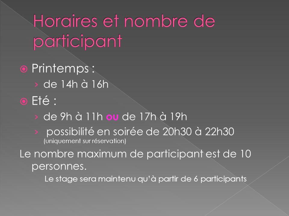 Printemps : de 14h à 16h Eté : de 9h à 11h ou de 17h à 19h possibilité en soirée de 20h30 à 22h30 (uniquement sur réservation) Le nombre maximum de participant est de 10 personnes.