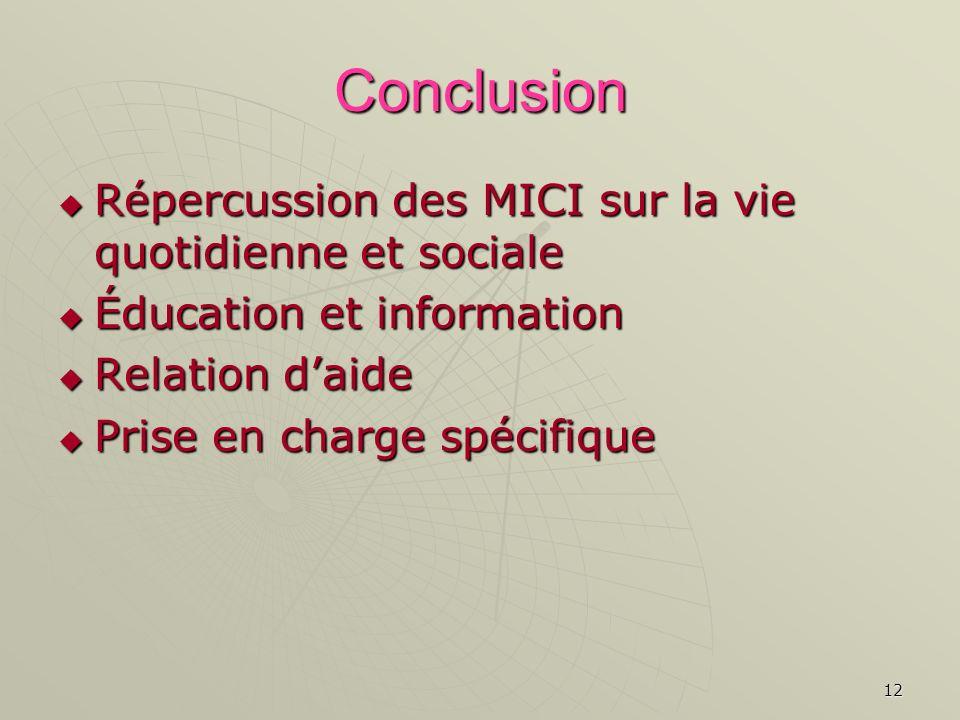 12 Conclusion Répercussion des MICI sur la vie quotidienne et sociale Répercussion des MICI sur la vie quotidienne et sociale Éducation et information