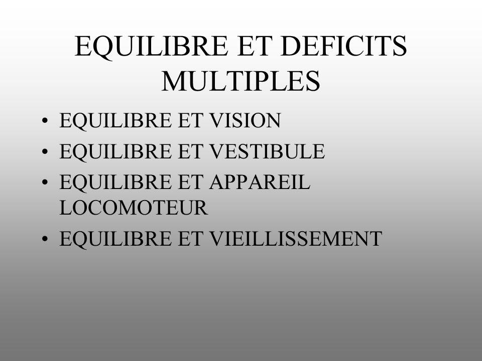 EQUILIBRE ET DEFICITS MULTIPLES EQUILIBRE ET VISION EQUILIBRE ET VESTIBULE EQUILIBRE ET APPAREIL LOCOMOTEUR EQUILIBRE ET VIEILLISSEMENT