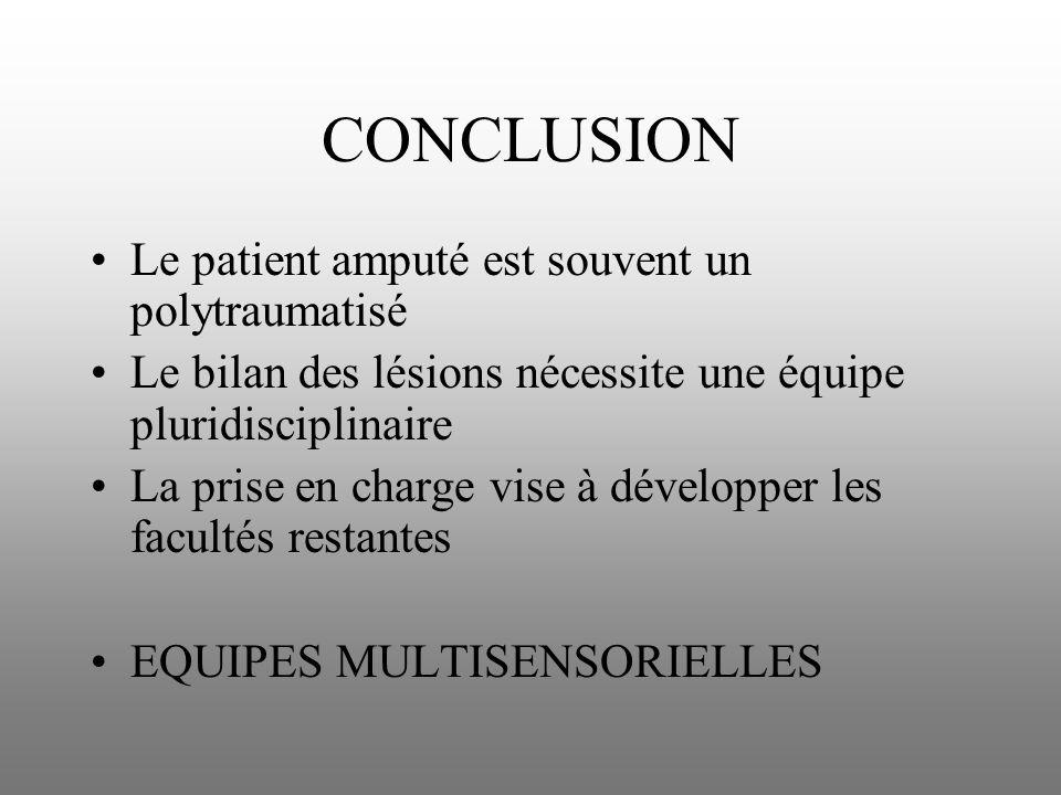 CONCLUSION Le patient amputé est souvent un polytraumatisé Le bilan des lésions nécessite une équipe pluridisciplinaire La prise en charge vise à déve