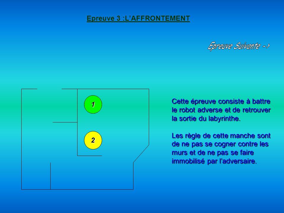 Epreuve 3 :LAFFRONTEMENT Cette épreuve consiste à battre le robot adverse et de retrouver la sortie du labyrinthe. Les règle de cette manche sont de n