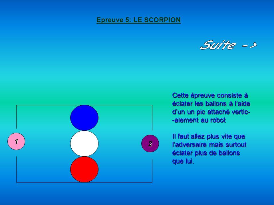2 1 Epreuve 5: LE SCORPION Cette épreuve consiste à éclater les ballons à laide dun un pic attaché vertic- -alement au robot Il faut allez plus vite q