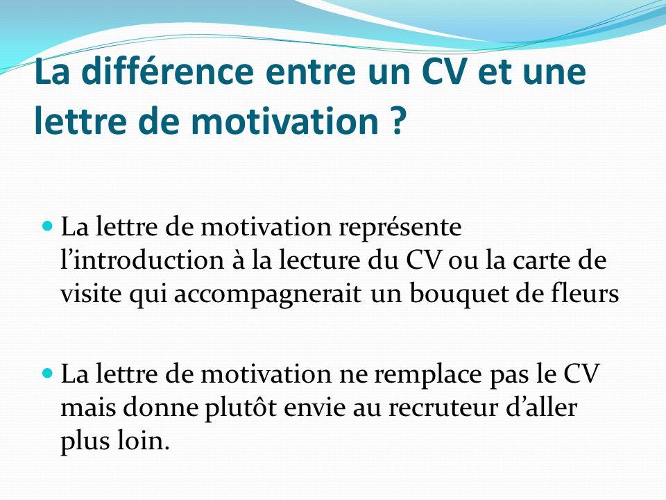 La différence entre un CV et une lettre de motivation ? La lettre de motivation représente lintroduction à la lecture du CV ou la carte de visite qui