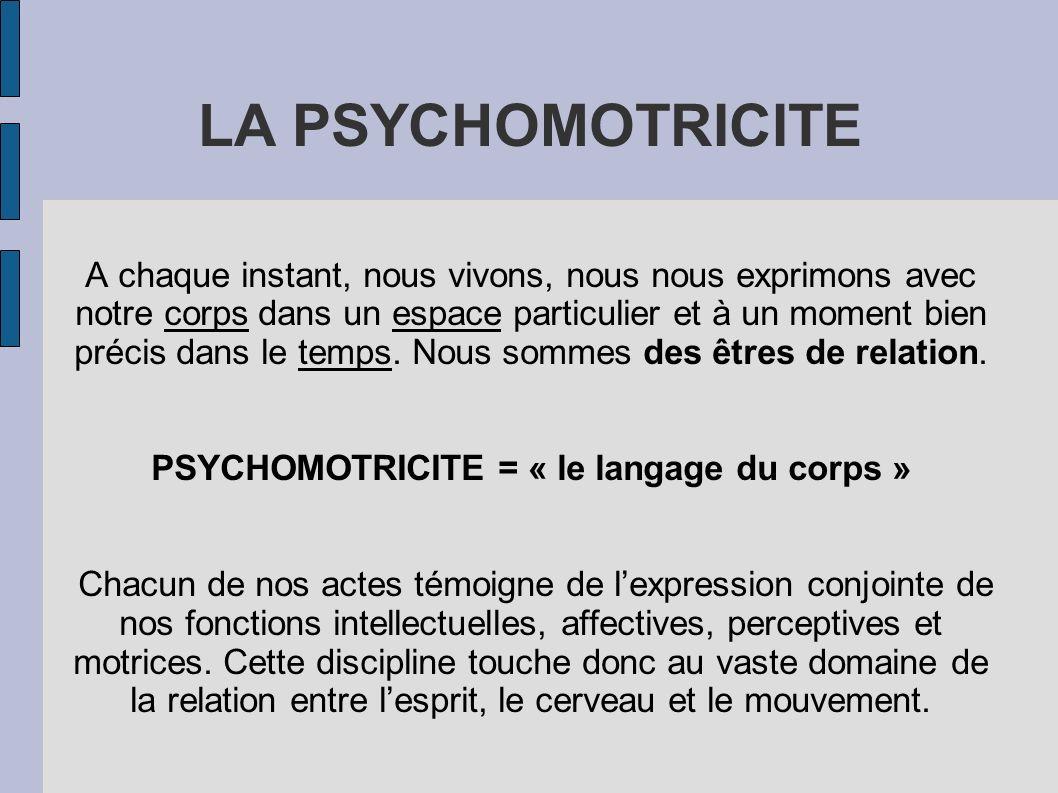 LA PSYCHOMOTRICITE A chaque instant, nous vivons, nous nous exprimons avec notre corps dans un espace particulier et à un moment bien précis dans le t