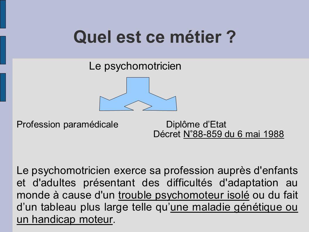 Quel est ce métier ? Le psychomotricien Profession paramédicale Diplôme dEtat Décret N°88-859 du 6 mai 1988 Le psychomotricien exerce sa profession au