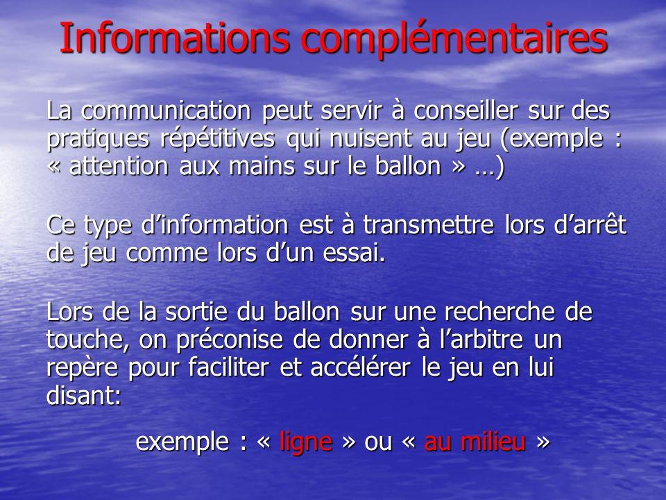 Informations complémentaires La communication peut servir à conseiller sur des pratiques répétitives qui nuisent au jeu (exemple : « attention aux mains sur le ballon » …) Ce type dinformation est à transmettre lors darrêt de jeu comme lors dun essai.