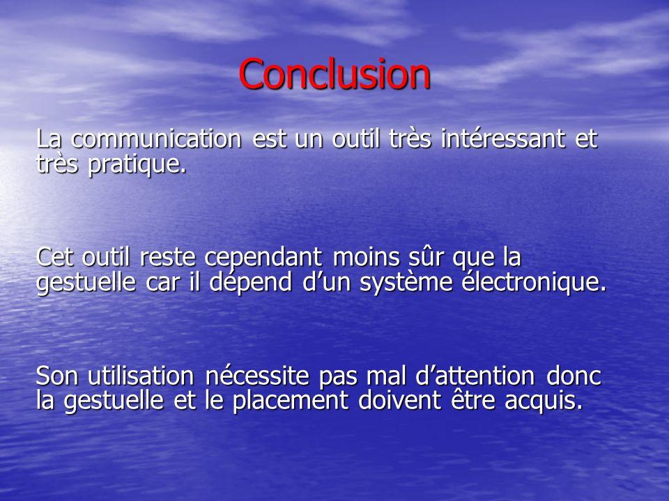 Conclusion La communication est un outil très intéressant et très pratique.