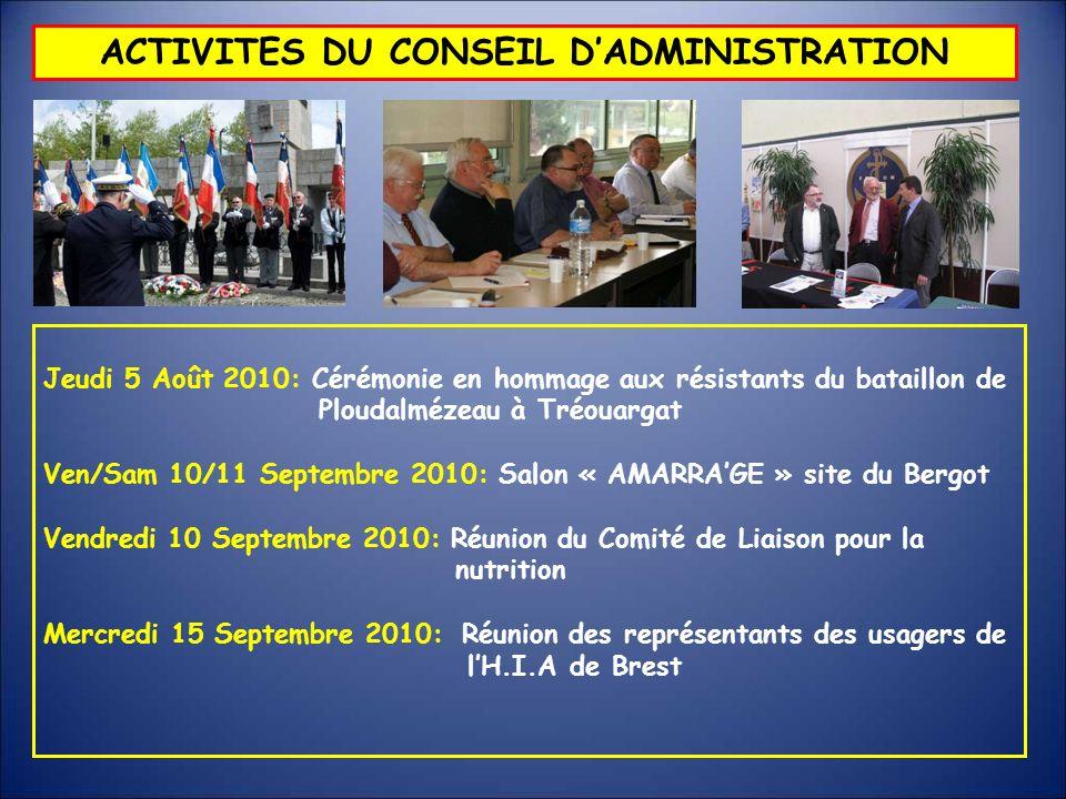 Jeudi 5 Août 2010: Cérémonie en hommage aux résistants du bataillon de Ploudalmézeau à Tréouargat Ven/Sam 10/11 Septembre 2010: Salon « AMARRAGE » sit