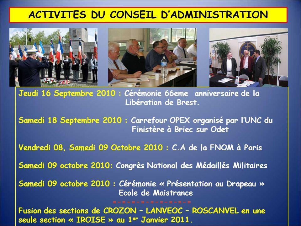 ACTIVITES DU CONSEIL DADMINISTRATION Jeudi 16 Septembre 2010 : Cérémonie 66eme anniversaire de la Libération de Brest. Samedi 18 Septembre 2010 : Carr