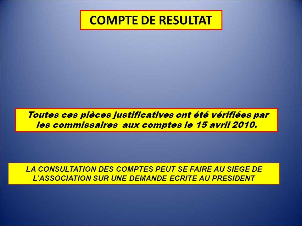 COMPTE DE RESULTAT Toutes ces pièces justificatives ont été vérifiées par les commissaires aux comptes le 15 avril 2010. LA CONSULTATION DES COMPTES P