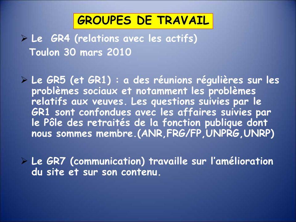 Le GR4 (relations avec les actifs) Toulon 30 mars 2010 Le GR5 (et GR1) : a des réunions régulières sur les problèmes sociaux et notamment les problème