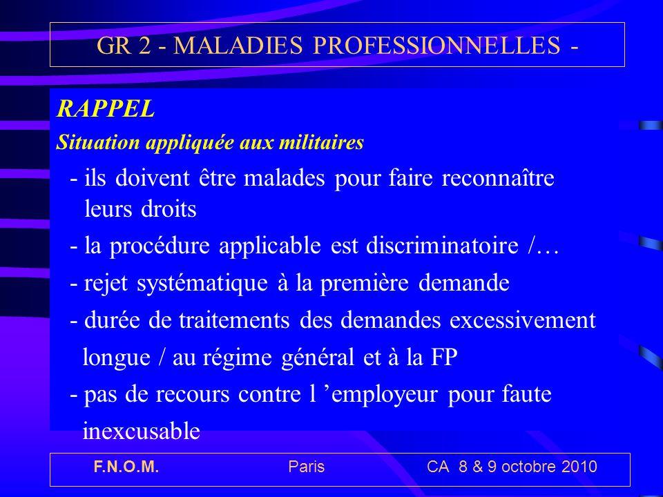 F.N.O.M. Paris CA 8 & 9 octobre 2010 GR 2 - MALADIES PROFESSIONNELLES - RAPPEL Situation appliquée aux militaires - ils doivent être malades pour fair