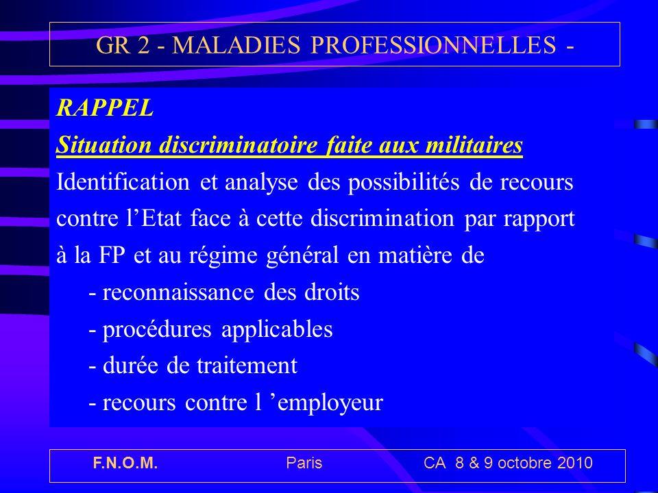F.N.O.M. Paris CA 8 & 9 octobre 2010 GR 2 - MALADIES PROFESSIONNELLES - RAPPEL Situation discriminatoire faite aux militaires Identification et analys