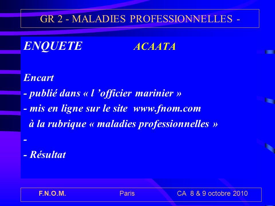 F.N.O.M. Paris CA 8 & 9 octobre 2010 GR 2 - MALADIES PROFESSIONNELLES - ENQUETE ACAATA Encart - publié dans « l officier marinier » - mis en ligne sur