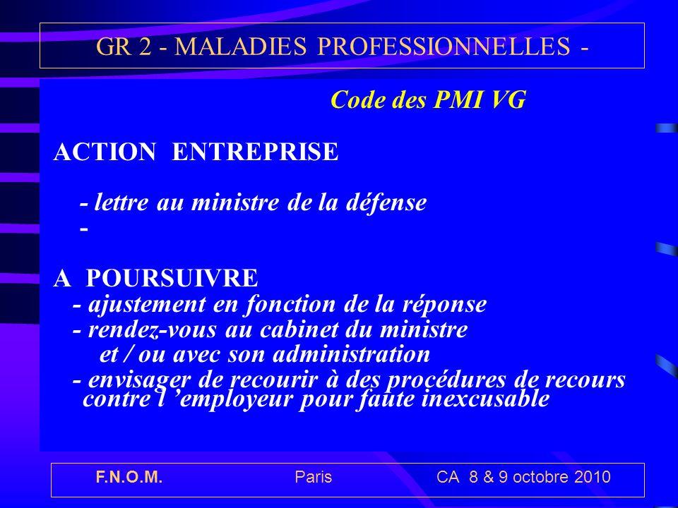 F.N.O.M. Paris CA 8 & 9 octobre 2010 GR 2 - MALADIES PROFESSIONNELLES - Code des PMI VG ACTION ENTREPRISE - lettre au ministre de la défense - A POURS