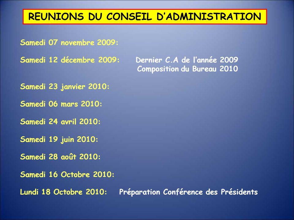 REUNIONS DU CONSEIL DADMINISTRATION Samedi 07 novembre 2009: Samedi 12 décembre 2009: Dernier C.A de lannée 2009 Composition du Bureau 2010 Samedi 23