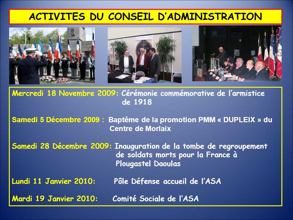 ACTIVITES DU CONSEIL DADMINISTRATION Mercredi 18 Novembre 2009: Cérémonie commémorative de larmistice de 1918 Samedi 5 Décembre 2009 : Baptême de la p