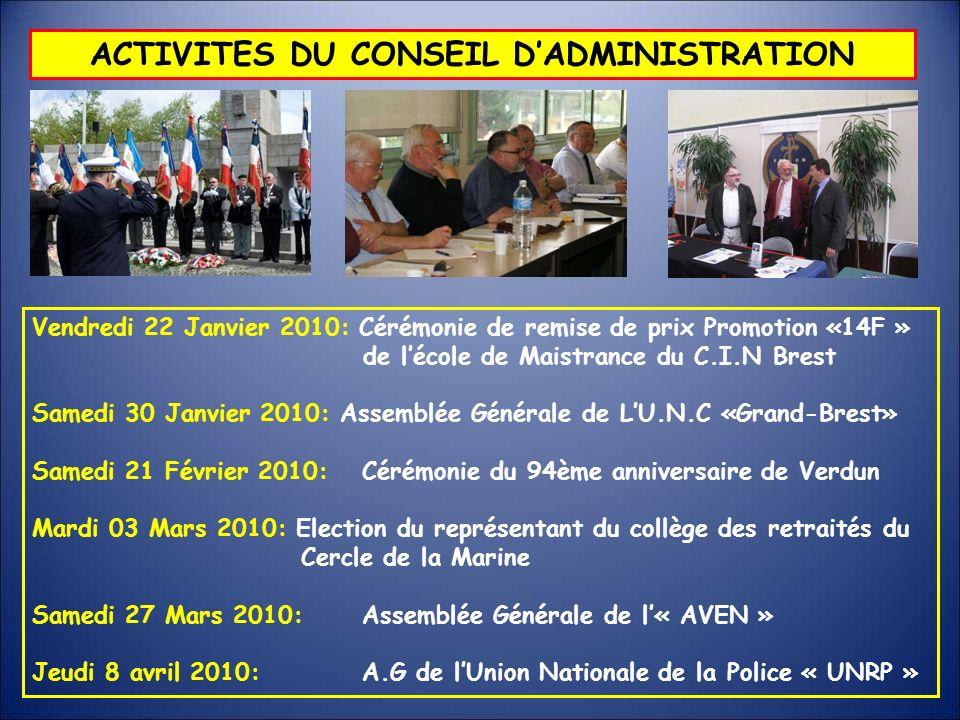 ACTIVITES DU CONSEIL DADMINISTRATION Vendredi 22 Janvier 2010: Cérémonie de remise de prix Promotion «14F » de lécole de Maistrance du C.I.N Brest Sam
