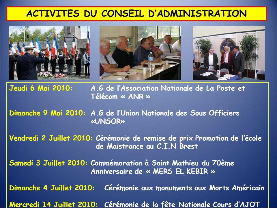 Jeudi 6 Mai 2010: A.G de lAssociation Nationale de La Poste et Télécom « ANR » Dimanche 9 Mai 2010: A.G de lUnion Nationale des Sous Officiers «UNSOR»