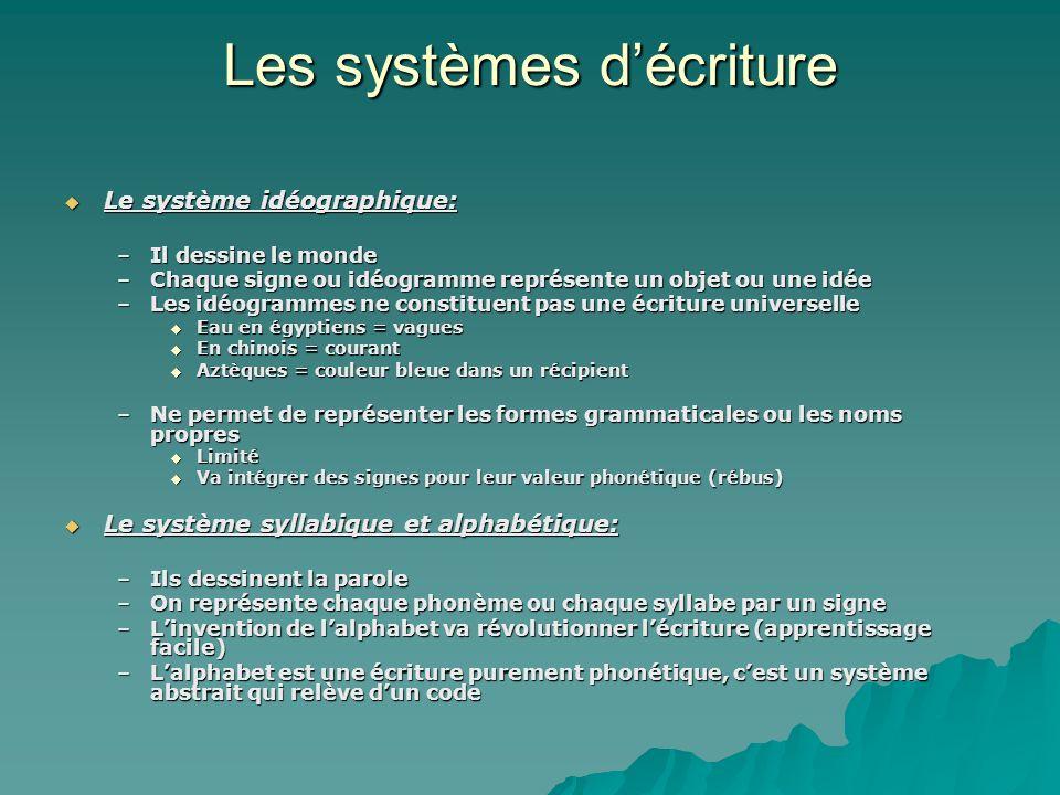 Les systèmes décriture Le système idéographique: Le système idéographique: –Il dessine le monde –Chaque signe ou idéogramme représente un objet ou une
